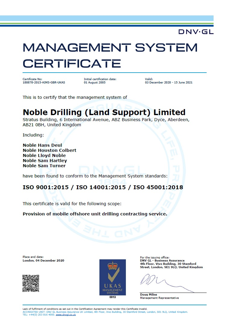Management System Certificate Noble Drilling (Land Support) Limited