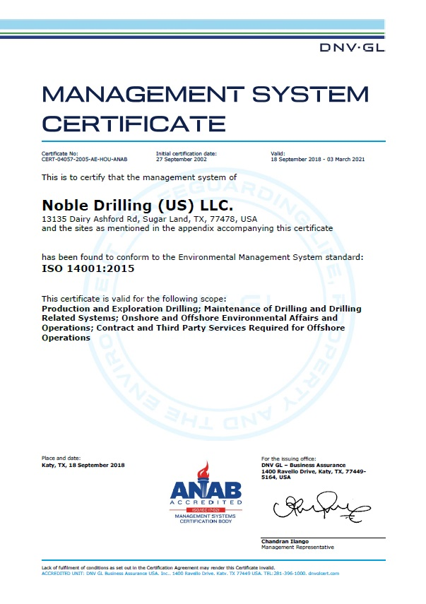 Management System Certificate Noble Drilling (US) LLC