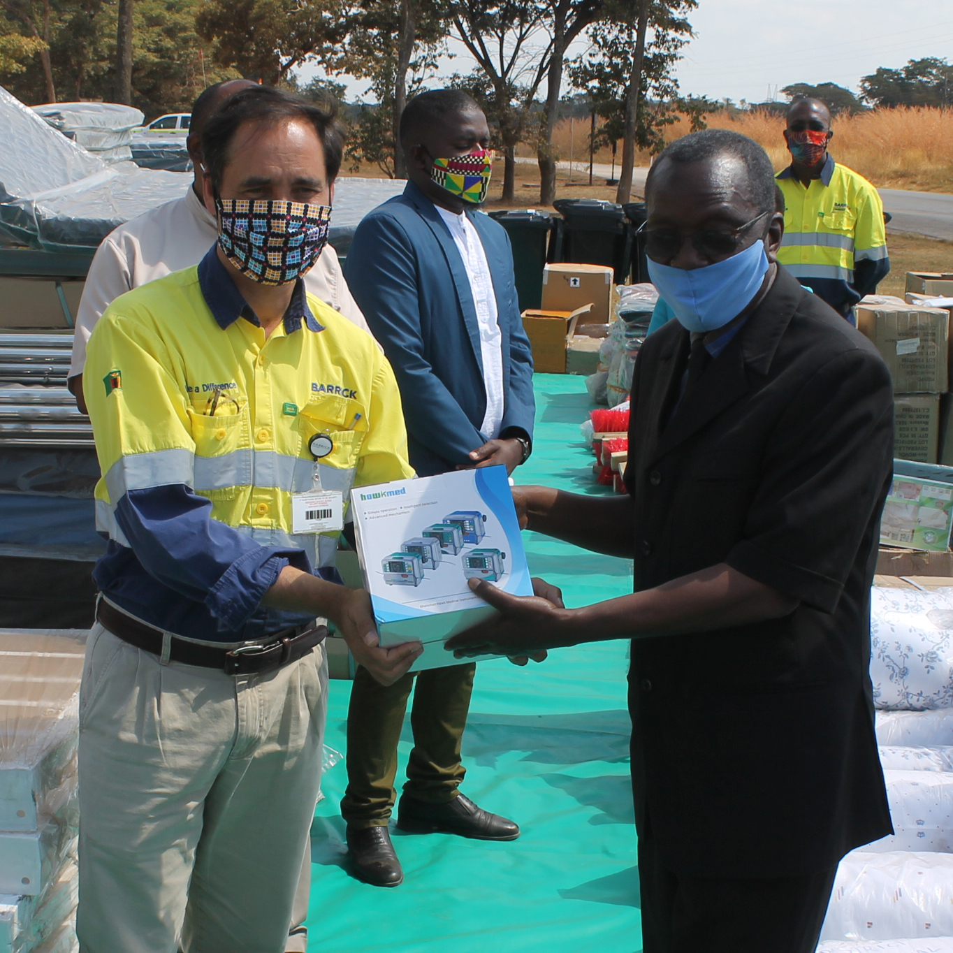 Barrick Lumwana handed over their second batch of Covid-19 medical supplies and equipment to the North Western Provincial and District Administration on May 26, 2020, during a colourful ceremony held at Lumwana Copper Mine in Zambia.