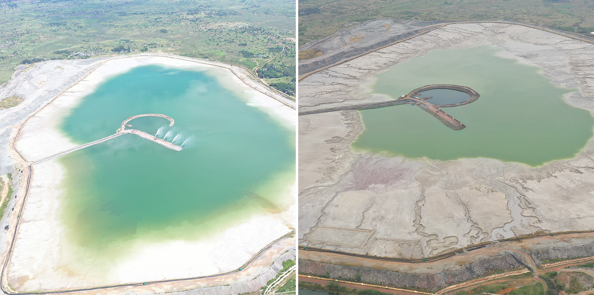 North Mara's Tailings Storage Facility before and after Barrick's intervention.