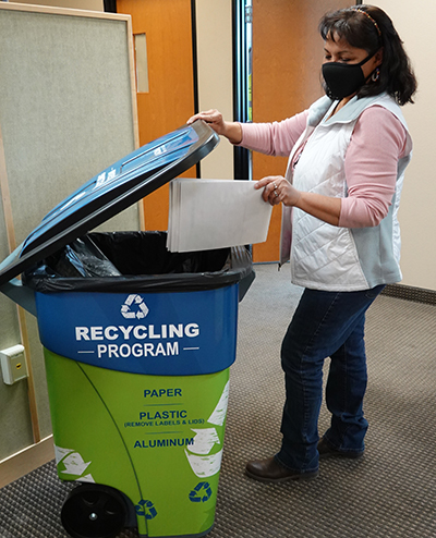 Recycling at NGM Elko Office.